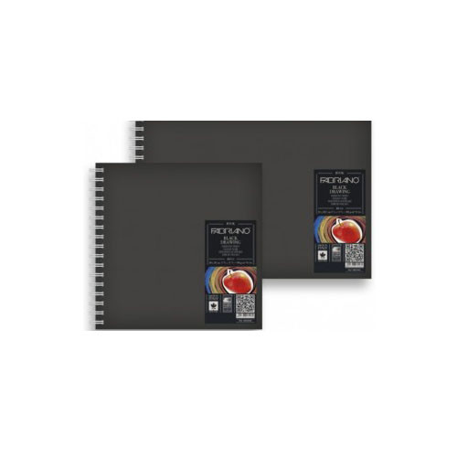 Fabriano Black Drawing Book Spiral Bound 190GSM - 15cm x 15cm (Square)