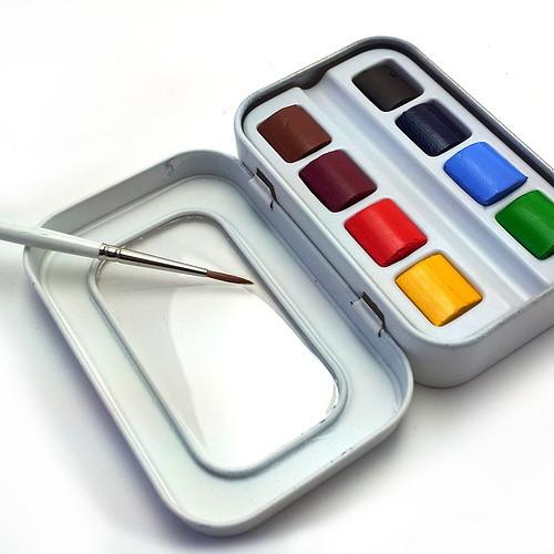 Sennelier Watercolour Aqua Mini - 8 Half Pans + 1 Brush (Open)