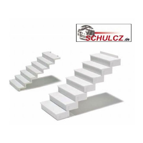 White Polystyrene Straight Stairs 35?? - 1:25 (w=40mm)