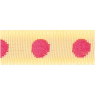 Rico Design Fabric Ribbon - Dots, Yellow/Pink