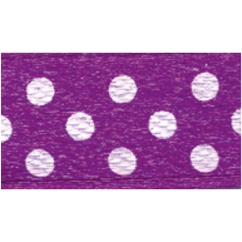 Polka-Dot Satin Ribbon - Violet with White Dots