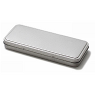 Rectangular Silver Tinplate Container - 181mm x 76mm x 22mm (Pen Box)