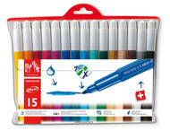 Fancolor Fibre-Tipped Pen Maxi Assort. 15 Plastic Wallet   |  195.715