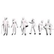 Preiser Unpainted Detailed Various Figures (Standing, Walking, Sitting) - 1:100