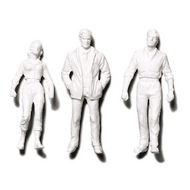 Preiser Unpainted Detailed Standing Figures (2 Men, 1 Woman) - 1:24