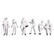 Preiser Unpainted Detailed Various Figures (Standing, Walking, Sitting) - 1:50