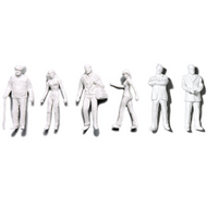 Preiser Unpainted Detailed Various Figures (4 Standing, 2 Walking) - 1:50