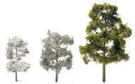 Etched Brass Deciduous Trees - H=60 mm Pastel Blue-Green, Brown Trunk