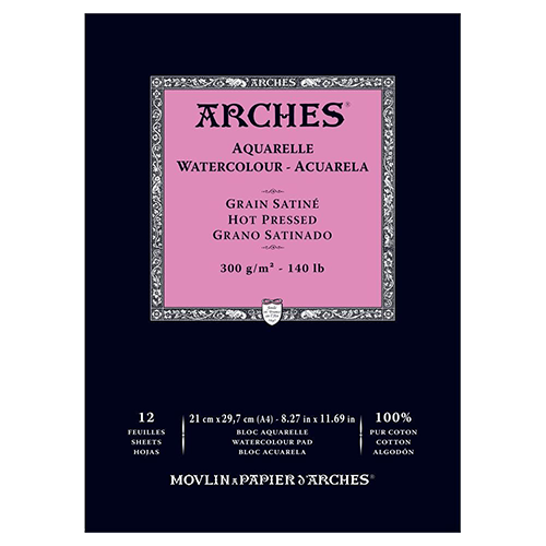 Arches Watercolour Pad Hot Pressed (Smooth) 300GSM - A4