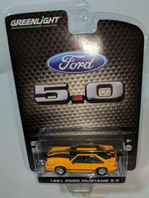 1:64 1991 Mustang GT 5.0 FB Foxbody in Grabber Orange with black stripes, LBE Exclusive