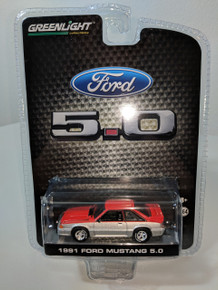 1:64 1991 Mustang 5.0 Coupe Candy Apple Red and Silver Two Tone