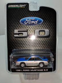 1:64 1991 Mustang 5.0 Coupe Candy Apple Blue and Silver Two Tone
