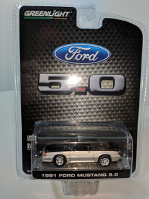 1:64 1991 Mustang 5.0 Coupe Midnight Black and Silver Two Tone