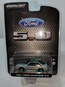 1:64 1991 Mustang 5.0 Coupe Raw Metal with Green Stripes Green Machine