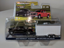 1:64 2015 Chevrolet Silverado in Black with Tool Box and Enclosed Car Hauler in White