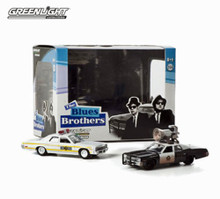 1:64 Blues Brothers Blues Mobile 1974 Dodge Monaco 2 Piece Set with diorama