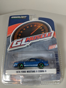 1:64 GreenLight Muscle Series 20 - 1976 Ford Mustang II Cobra II - Blue with White Stripes Green Machine