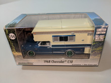 1:64 1968 Chevy C10 Cheyenne in Blue with Large Camper in Tan (Hobby Exclusive) Green Machine