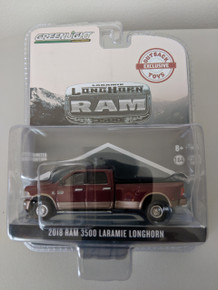 1:64 2018 Dodge Ram 3500 Dually, Laramie Longhorn, Dark Red & Walnut