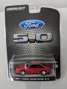 1:64 1991 Mustang GT 5.0 FB Foxbody in Candy Apple Red Series 2, LBE Exclusive