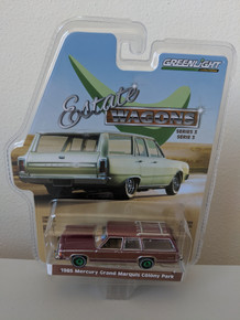1:64 Estate Wagons Series 3 - 1985 Mercury Grand Marquis Colony Park - Burgundy, Green Machine