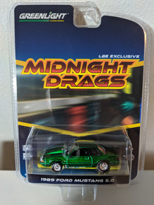 1:64 1989 Fox Body Drag Mustang 5.0 Coupe, Green Body & Chassis, LBE Series 4 Green Machine