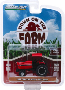 1:64 Down on the Farm Series 3 - 1982 Tractor with 4-Post ROPS - Red and Black