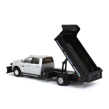 1:64 2018 Ram 3500 Laramie Dually, Silver With Black Dump Bed And Snow Plow, Outback Exclusive