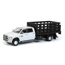 1:64 2018 Ram 3500 Laramie Dually, White With Black Stake Bed, Outback Exclusive