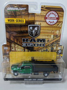 1:64 2018 Ram 3500 Laramie Dually, Green Cab With Black Dump Bed, Outback Exclusive Green Machine
