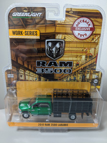 1:64 2018 Ram 3500 Laramie Dually, Green Cab With Black Stake Bed, Outback Exclusive Green Machine