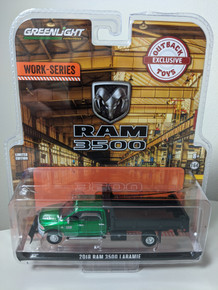 1:64 2018 Ram 3500 Laramie Dually, Green Cab With Black Dump Bed And Snow Plow, Outback Exclusive Green Machine