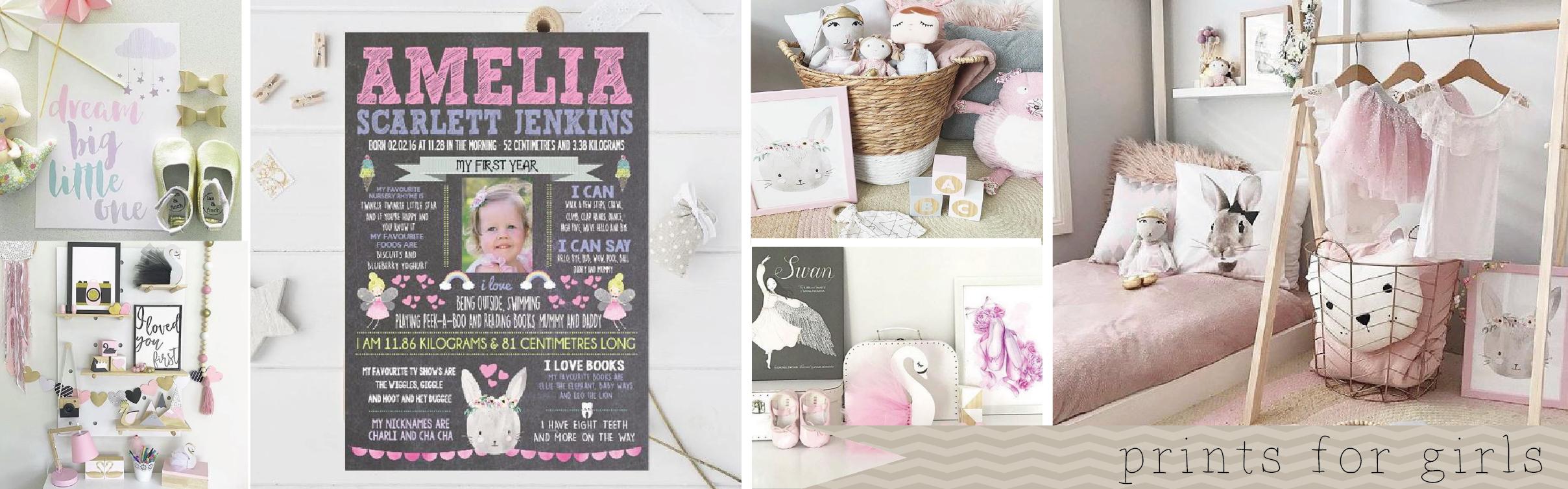 Girls Nursery and Bedroom Prints and Wall Art