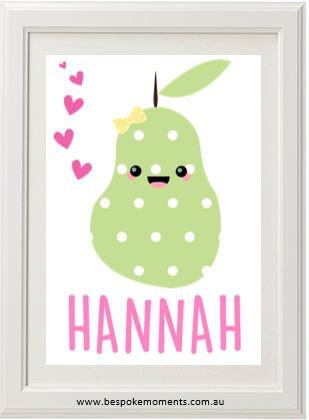 Kawaii pear name print