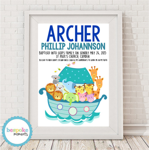 Product image of Boys Noah's Ark Christening Print