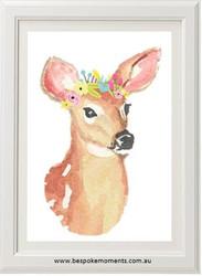 Deer Flower Crown Print