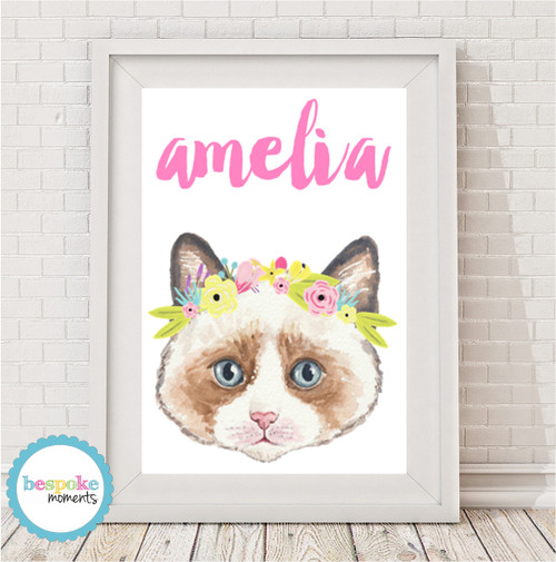 Product image of Kitten Flower Crown Name Print