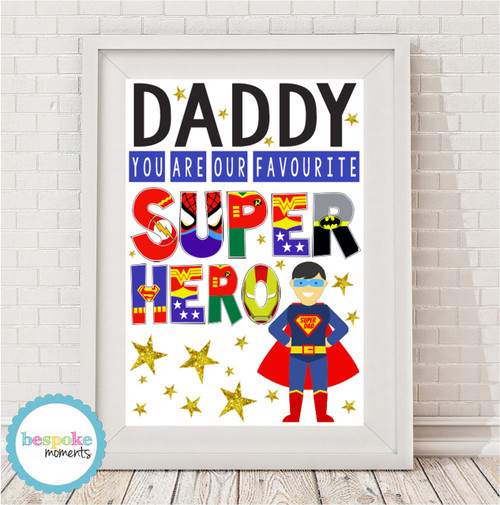 Product image of Daddy Favourite Superhero Print
