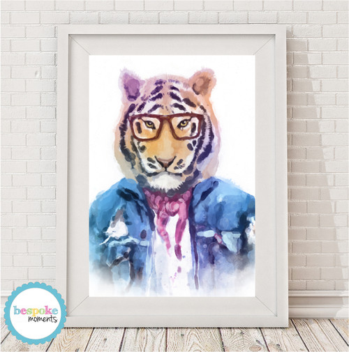 Product image of Hipster Tiger Watercolour Print