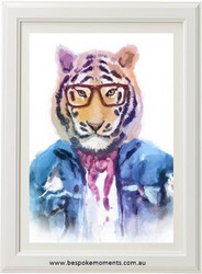 Hipster Tiger Watercolour Print