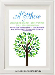 Boys Tree Christening Print