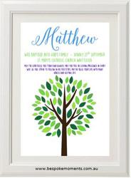 Boys Tree Christening Print