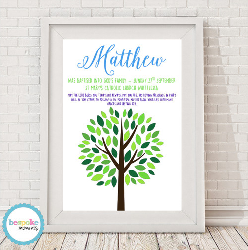 Product image of Boys Tree Christening Print