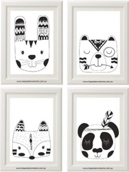 Monochrome Tribal Animals Set of 4