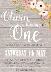 Rustic Floral Invitation