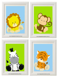 Jungle Animals Nursery Print Set of 4