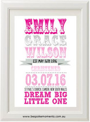 Circus Roll Christening Print - Girl