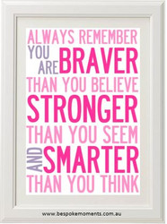 You Are Braver Print - Pink