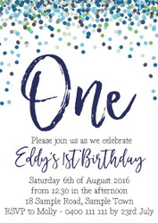 Blue Confetti Invitation