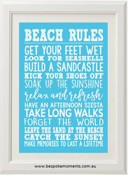 Beach Rules Typographic Print